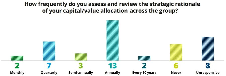 How frequently do you assess and review the strategic rationale of your capital/value allocation across the group