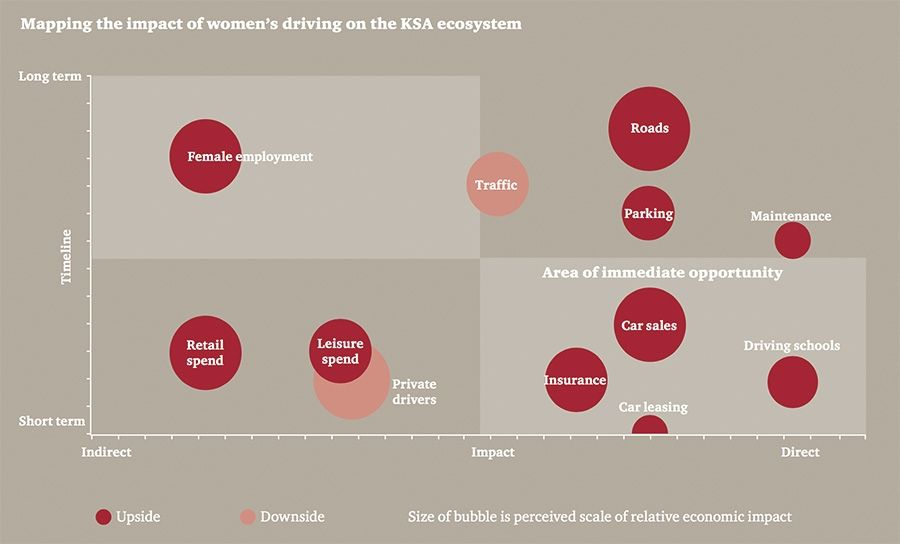 Mapping the impact of females driving on the KSA ecosystem