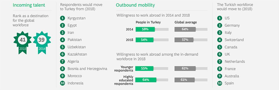 Incoming and outgoing skilled workers in Turkey