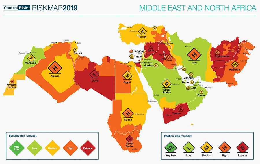 Political and security risk map Middle East & North Africa