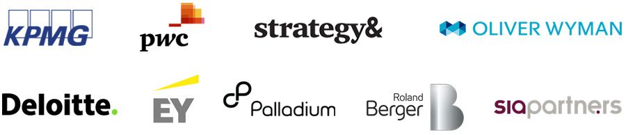 KPMG, PwC, Strategy&, Oliver Wyman, Deloitte, EY, Palladium, Roland Berger and SiaPartners