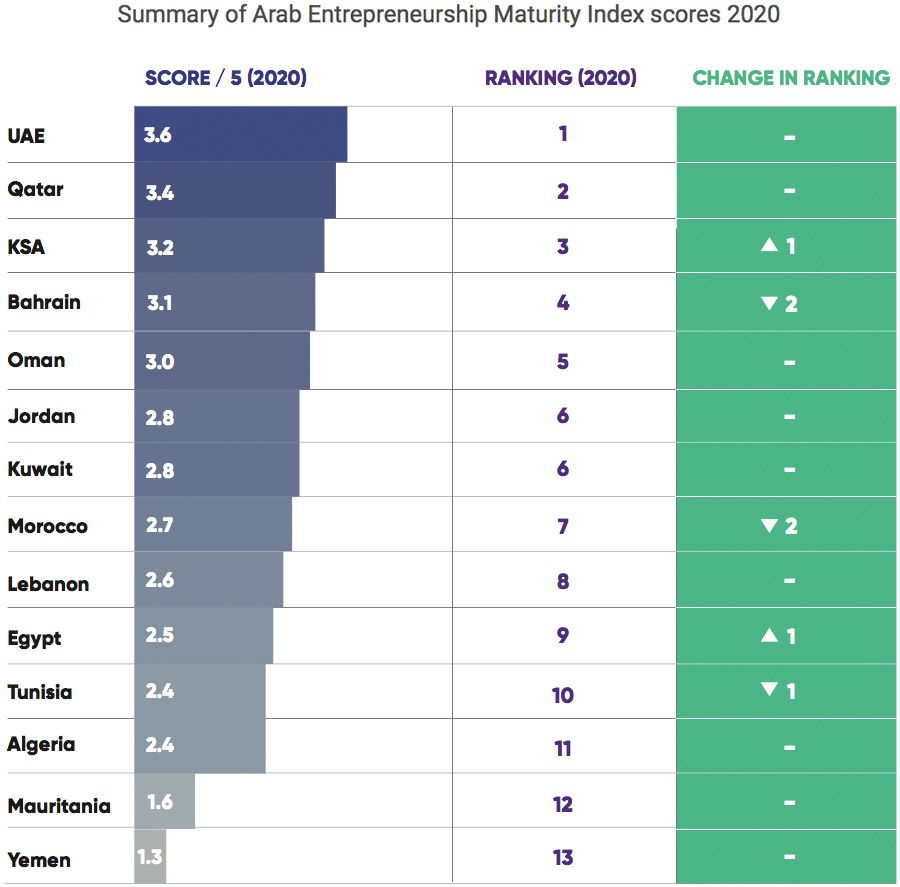 Summary of Arab Entrepreneurship Maturity Index scores 2020